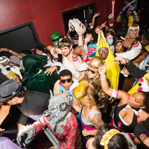 Crowd of Costumed partygoers attend the Halloween House Party NYC at Webster Hall in New York City on October 30, 2014